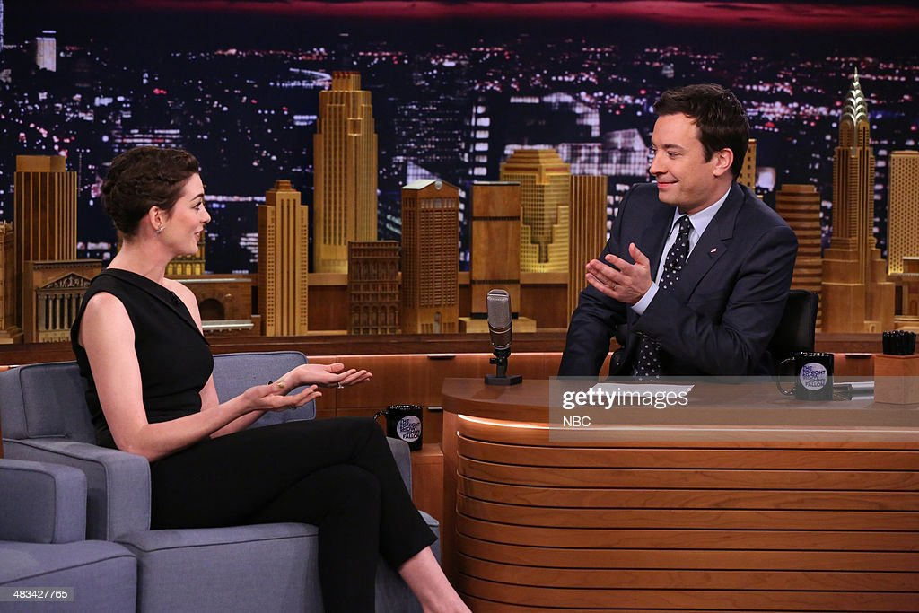 Actress Anne Hathaway during an interview with host Jimmy Fallon on April 8, 2014 -- (Photo by: Nathaniel Chadwick/NBC/NBCU Photo Bank via Getty Images).