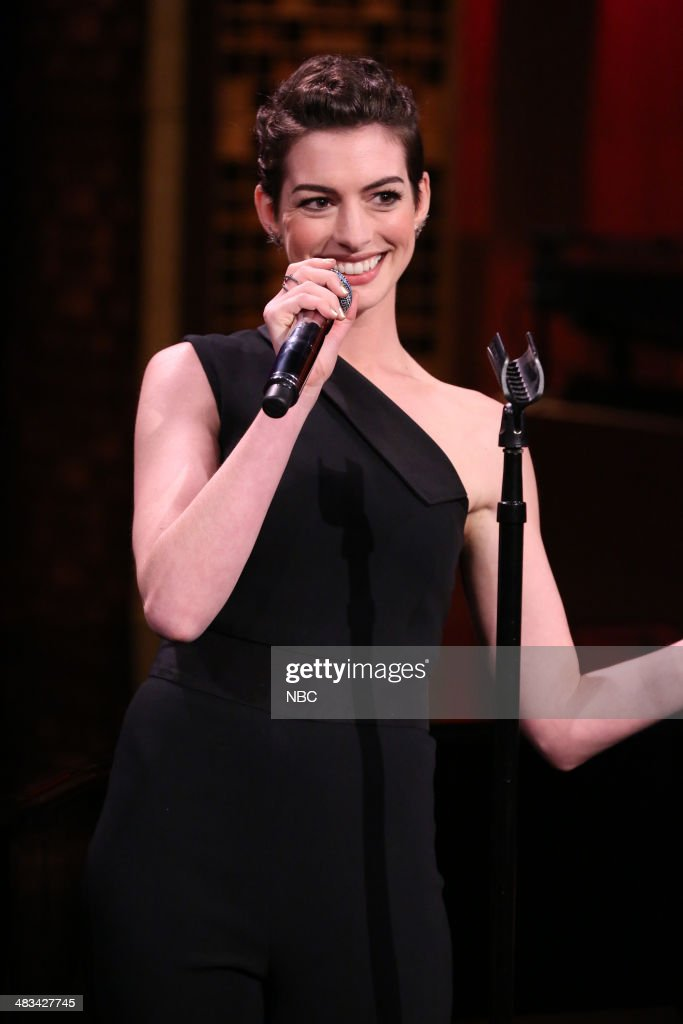 Actress <a gi-track='captionPersonalityLinkClicked' href=/galleries/search?phrase=Anne+Hathaway+-+Actress&family=editorial&specificpeople=11647173 ng-click='$event.stopPropagation()'>Anne Hathaway</a> during the 'Broadway Rap' skit on April 8, 2014 -- (Photo by: Nathaniel Chadwick/NBC/NBCU Photo Bank via Getty Images).