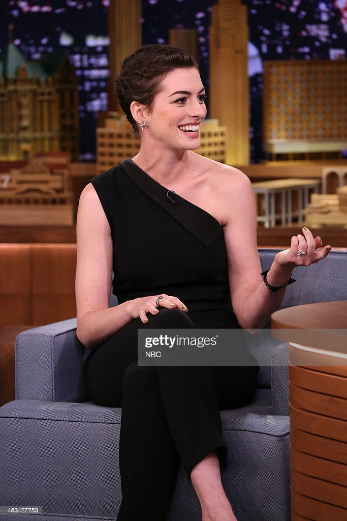 Actress <a gi-track='captionPersonalityLinkClicked' href=/galleries/search?phrase=Anne+Hathaway+-+Actress&family=editorial&specificpeople=11647173 ng-click='$event.stopPropagation()'>Anne Hathaway</a> on April 8, 2014 -- (Photo by: Nathaniel Chadwick/NBC/NBCU Photo Bank via Getty Images).