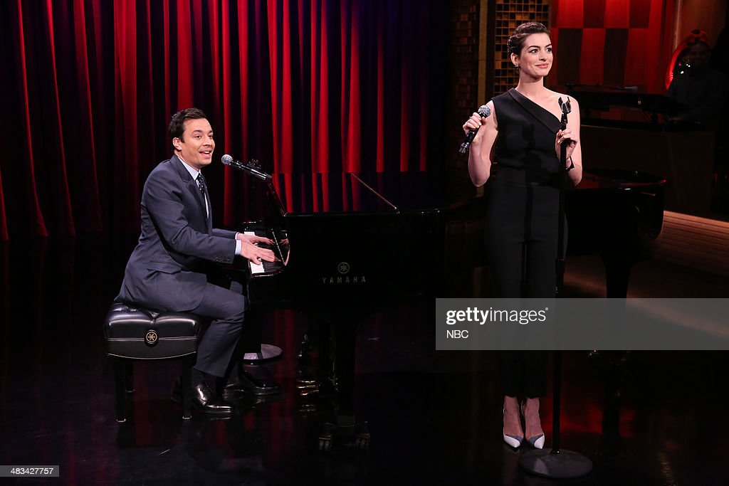 Host Jimmy Fallon and actress Anne Hathaway during the 'Broadway Rap' skit on April 8, 2014 -- (Photo by: Nathaniel Chadwick/NBC/NBCU Photo Bank via Getty Images).