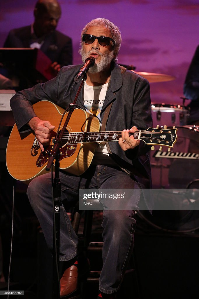 Musical Guest <a gi-track='captionPersonalityLinkClicked' href=/galleries/search?phrase=Yusuf+Islam&family=editorial&specificpeople=204235 ng-click='$event.stopPropagation()'>Yusuf Islam</a> performs on April 8, 2014 -- (Photo by: Nathaniel Chadwick/NBC/NBCU Photo Bank via Getty Images).