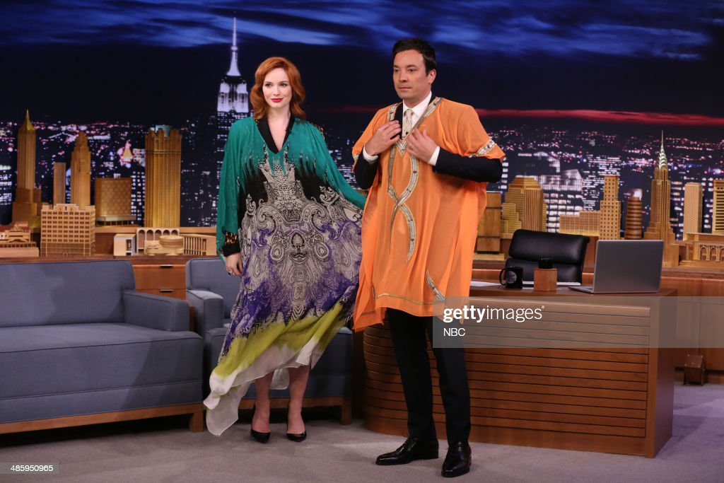 Actress Christina Hendricks during an interview with host Jimmy Fallon on April 21, 2014 -- (Photo by: Nathaniel Chadwick/NBC/NBCU Photo Bank via Getty Images)..
