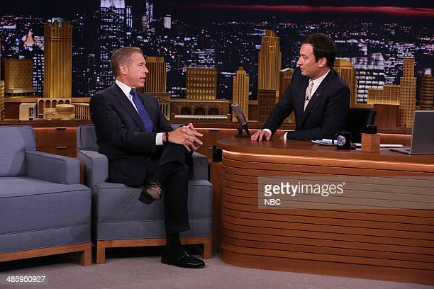News anchor Brian Williams during an interview with host Jimmy Fallon on April 21 2014