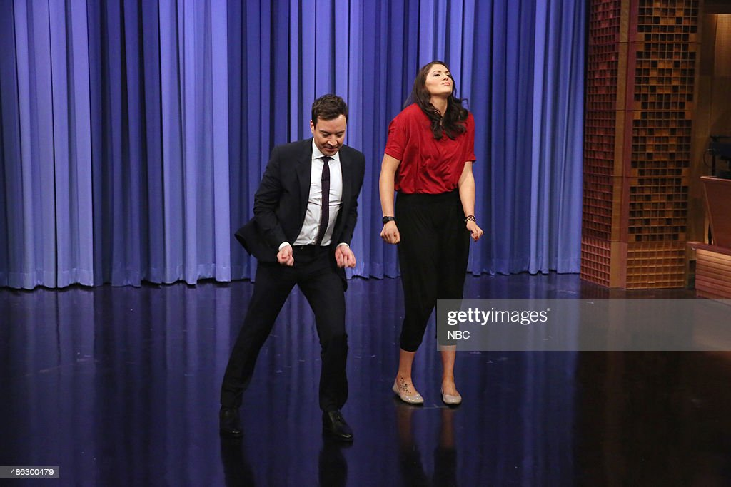 Host Jimmy Fallon, <a gi-track='captionPersonalityLinkClicked' href=/galleries/search?phrase=Stefanie+Dolson&family=editorial&specificpeople=7369130 ng-click='$event.stopPropagation()'>Stefanie Dolson</a> have a dance battle on April 23, 2014 --