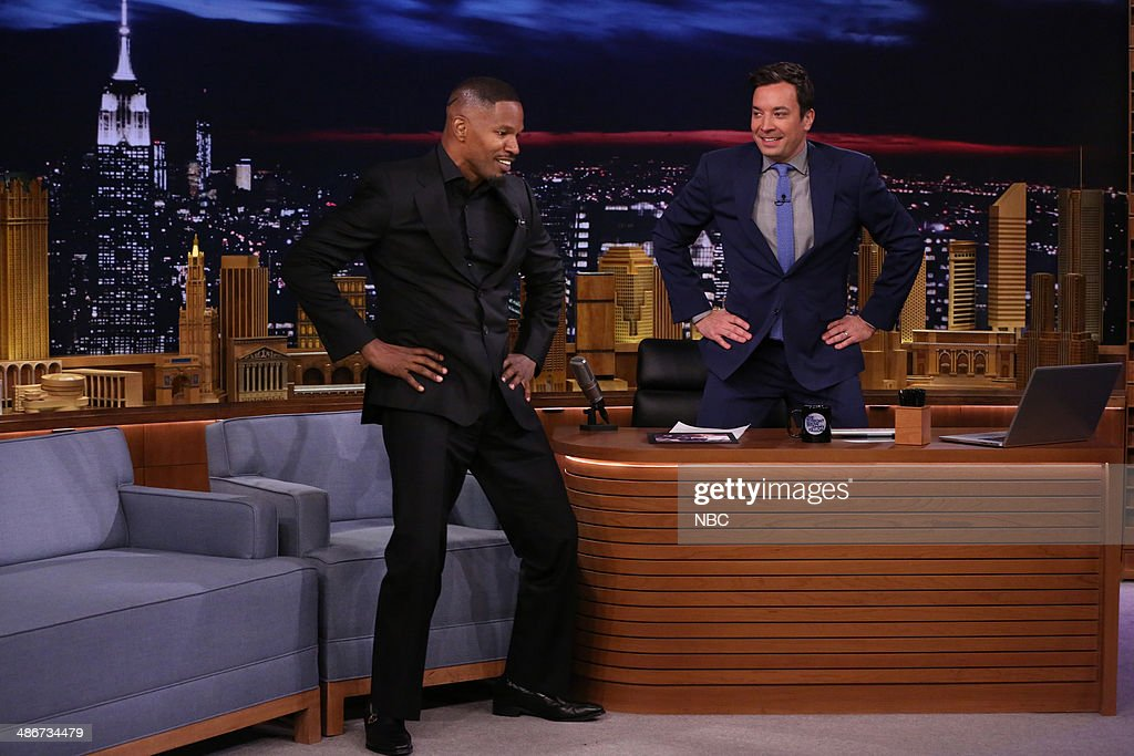 Actor <a gi-track='captionPersonalityLinkClicked' href=/galleries/search?phrase=Jamie+Foxx&family=editorial&specificpeople=201715 ng-click='$event.stopPropagation()'>Jamie Foxx</a> during an interview with host Jimmy Fallon on April 25, 2014 --