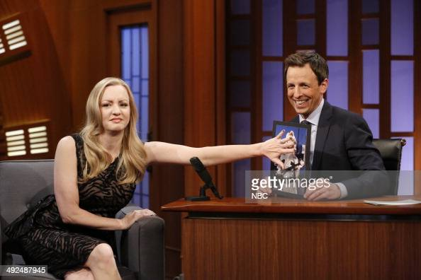 Actress Wendi McLendonCovey during an interview with host Seth Meyers on May 20 2014