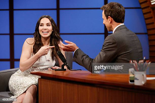 Comedian Whitney Cummings during an interview with host Seth Meyers on June 18 2014