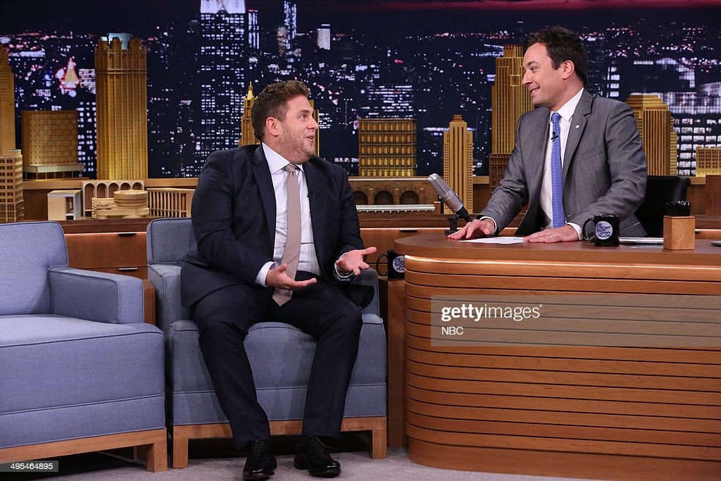 Actor Jonah Hill during an interview with host Jimmy Fallon on June 3, 2014 --