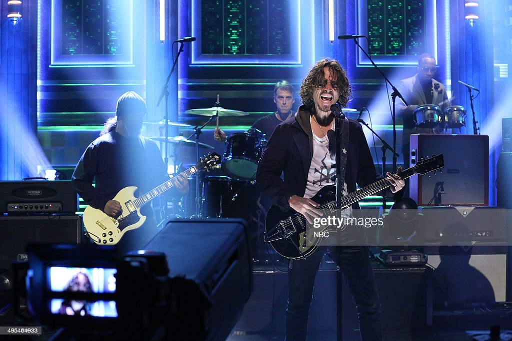 Kim Thayil, Matt Cameron and Chris Cornell of musical guest Soundgarden perform with Frank ?Knuckles? Walker on June 3, 2014 --