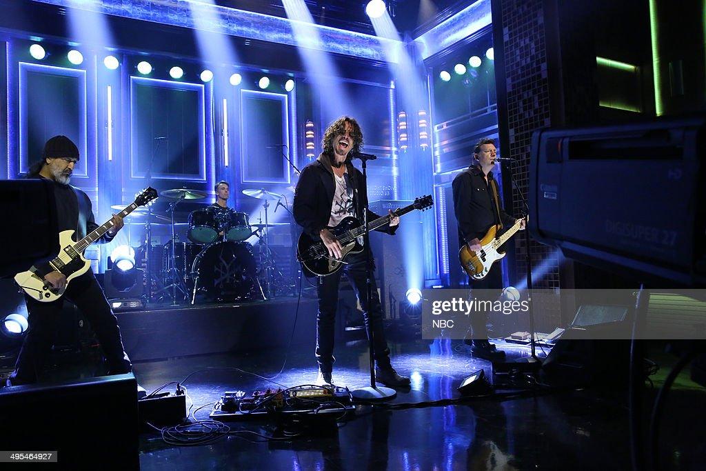 Kim Thayil, Matt Cameron, Chris Cornell and Ben Shepherd of musical guest Soundgarden perform on June 3, 2014 --