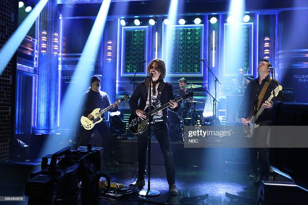 Kim Thayil, Matt Cameron, Chris Cornell and Ben Shepherd of musical guest Soundgarden perform with Frank ?Knuckles? Walker on June 3, 2014 --
