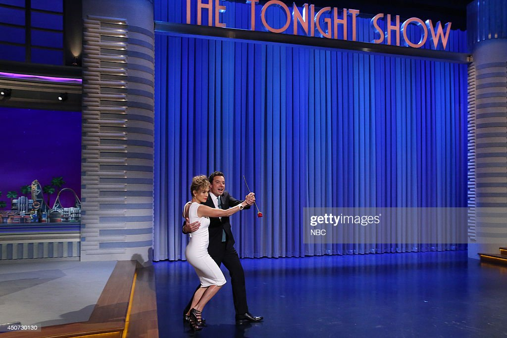 Singer <a gi-track='captionPersonalityLinkClicked' href=/galleries/search?phrase=Jennifer+Lopez&family=editorial&specificpeople=201784 ng-click='$event.stopPropagation()'>Jennifer Lopez</a> dances with host Jimmy Fallon on June 16, 2014 --