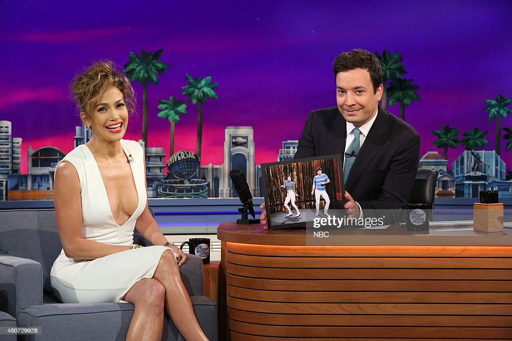 Singer <a gi-track='captionPersonalityLinkClicked' href=/galleries/search?phrase=Jennifer+Lopez&family=editorial&specificpeople=201784 ng-click='$event.stopPropagation()'>Jennifer Lopez</a> during an interview with host Jimmy Fallon on June 16, 2014 --