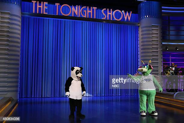 #Hashtag the Panda during a danceoff with Stuff the Magic Dragon on June 18 2014