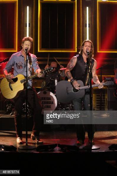 Brian Kelley and Tyler Hubbard of musical guest Florida Georgia Line perform on July 8 2014