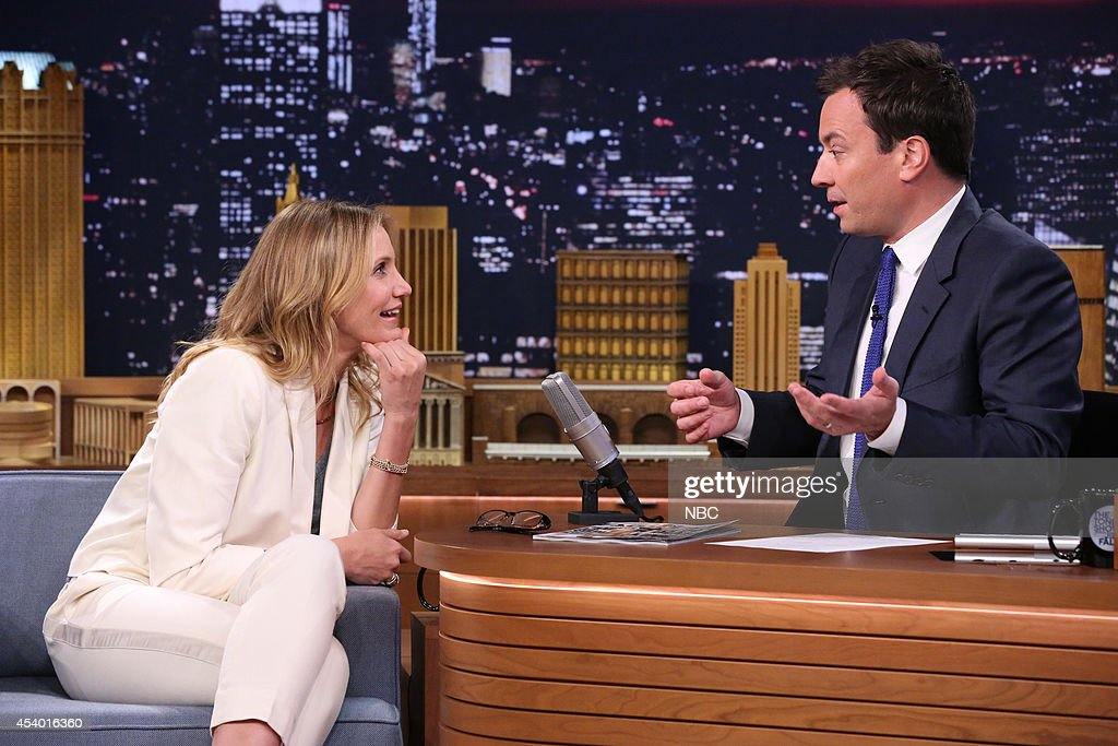 Actress <a gi-track='captionPersonalityLinkClicked' href=/galleries/search?phrase=Cameron+Diaz&family=editorial&specificpeople=201892 ng-click='$event.stopPropagation()'>Cameron Diaz</a> during an interview with host Jimmy Fallon on July 15, 2014 --