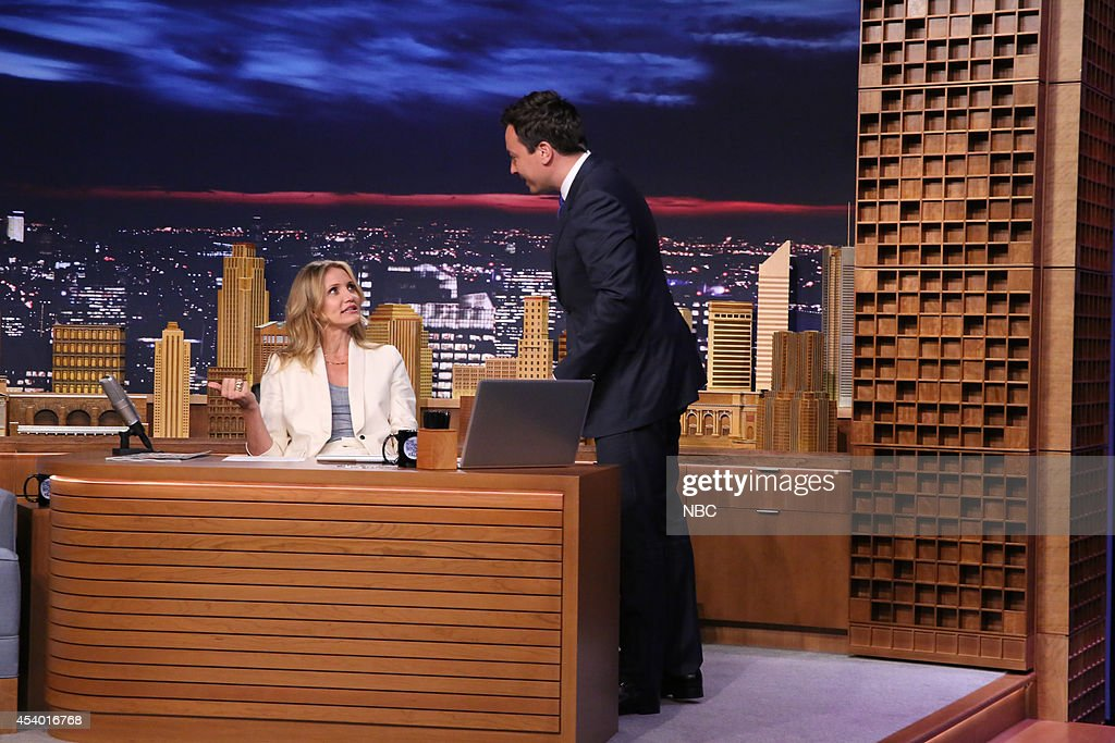 Host Jimmy Fallon during an interview with actress <a gi-track='captionPersonalityLinkClicked' href=/galleries/search?phrase=Cameron+Diaz&family=editorial&specificpeople=201892 ng-click='$event.stopPropagation()'>Cameron Diaz</a> on July 15, 2014 --