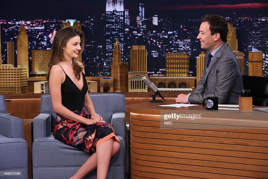 Model Miranda Kerr during an interview with host Jimmy Fallon on July 17 2014