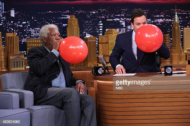 Actor Morgan Freeman during an interview with host Jimmy Fallon on July 24 2014