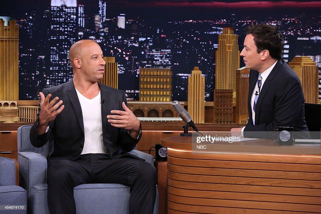 Actor <a gi-track='captionPersonalityLinkClicked' href=/galleries/search?phrase=Vin+Diesel&family=editorial&specificpeople=171983 ng-click='$event.stopPropagation()'>Vin Diesel</a> during an interview with host Jimmy Fallon on July 29, 2014 --