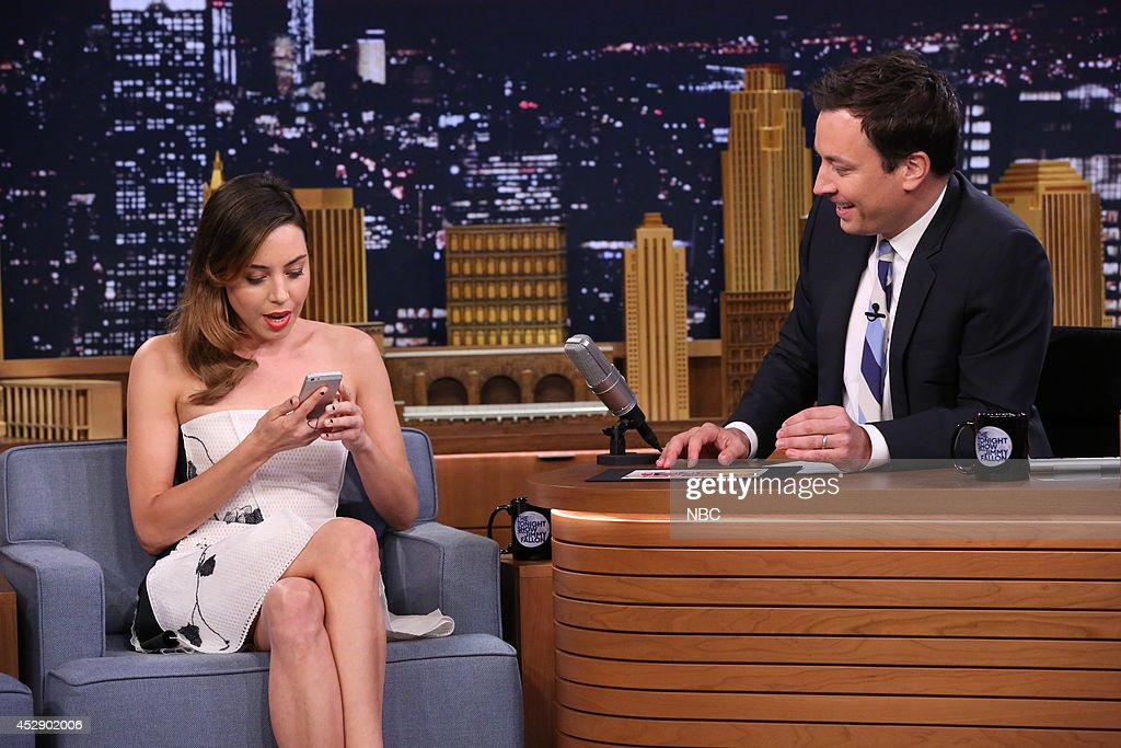 Actress <a gi-track='captionPersonalityLinkClicked' href=/galleries/search?phrase=Aubrey+Plaza&family=editorial&specificpeople=5299268 ng-click='$event.stopPropagation()'>Aubrey Plaza</a> during an interview with host Jimmy Fallon on July 29, 2014 --
