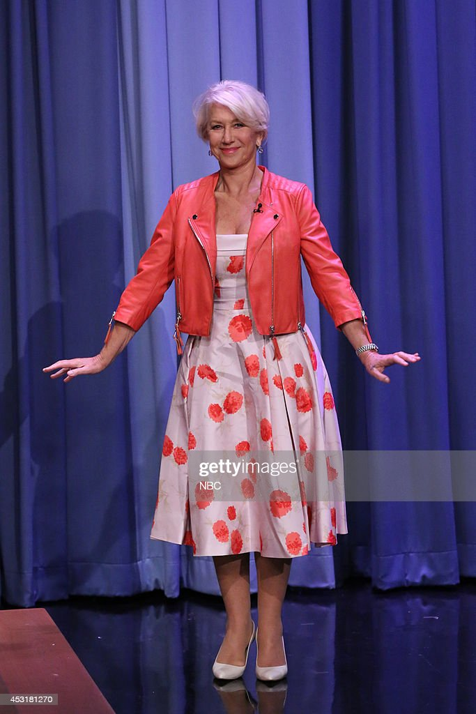 Actress <a gi-track='captionPersonalityLinkClicked' href=/galleries/search?phrase=Helen+Mirren&family=editorial&specificpeople=201576 ng-click='$event.stopPropagation()'>Helen Mirren</a> arrives during the 100th episode of the 'Tonight Show Starring Jimmy Fallon? on August 4, 2014 --