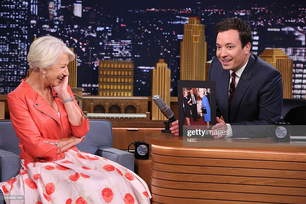 Actress <a gi-track='captionPersonalityLinkClicked' href=/galleries/search?phrase=Helen+Mirren&family=editorial&specificpeople=201576 ng-click='$event.stopPropagation()'>Helen Mirren</a> during an interview with host Jimmy Fallon during the 100th episode of the 'Tonight Show Starring Jimmy Fallon? on August 4, 2014 --