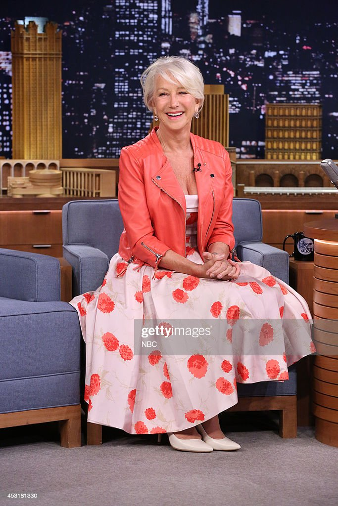 Actress <a gi-track='captionPersonalityLinkClicked' href=/galleries/search?phrase=Helen+Mirren&family=editorial&specificpeople=201576 ng-click='$event.stopPropagation()'>Helen Mirren</a> during the 100th episode of the 'Tonight Show Starring Jimmy Fallon? on August 4, 2014 --
