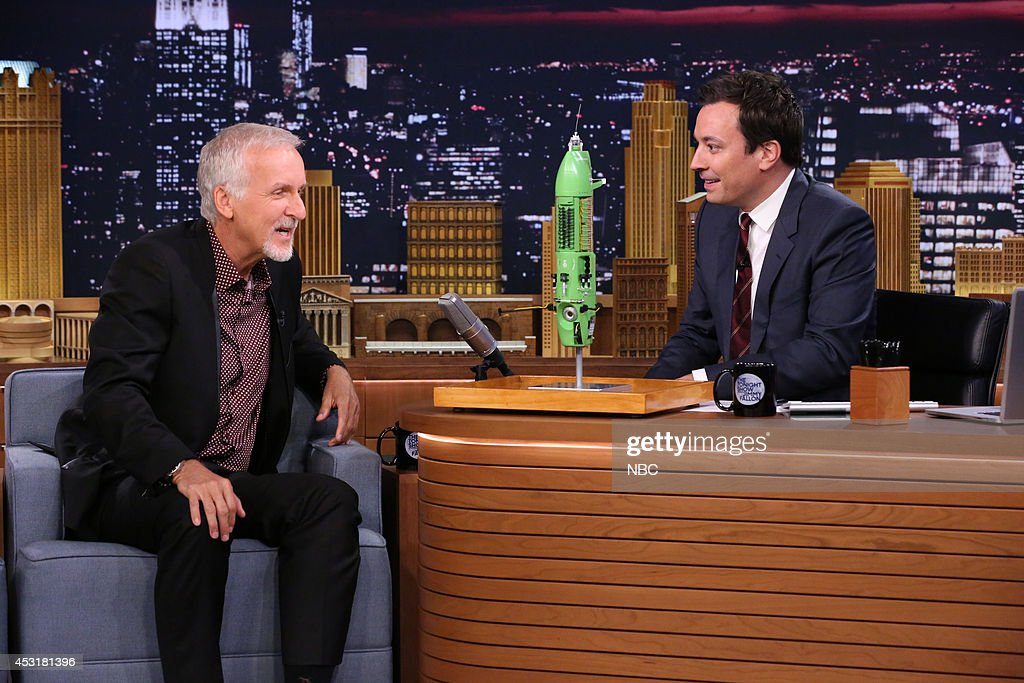 Director <a gi-track='captionPersonalityLinkClicked' href=/galleries/search?phrase=James+Cameron&family=editorial&specificpeople=206399 ng-click='$event.stopPropagation()'>James Cameron</a> during an interview with host Jimmy Fallon during the 100th episode of the 'Tonight Show Starring Jimmy Fallon? on August 4, 2014 --