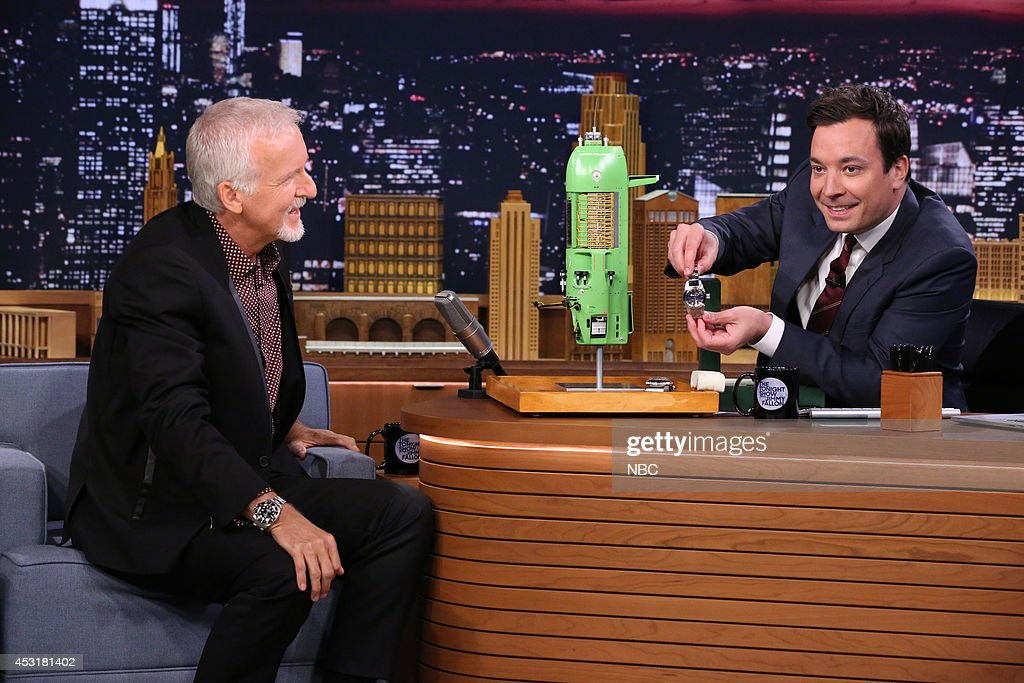 Director James Cameron during an interview with host Jimmy Fallon during the 100th episode of the 'Tonight Show Starring Jimmy Fallon? on August 4, 2014 --