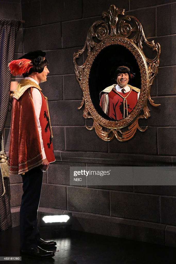 Host Jimmy Fallon during the 'Mirror Mirror' skit during the 100th episode of the 'Tonight Show Starring Jimmy Fallon? on August 4, 2014 --