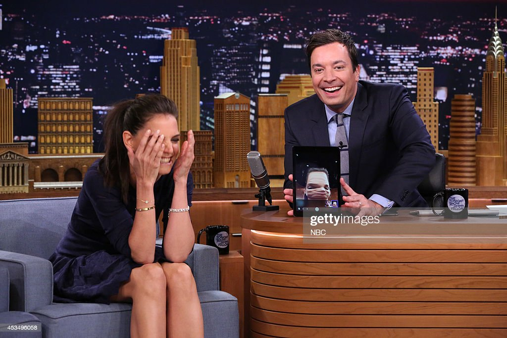 Actress <a gi-track='captionPersonalityLinkClicked' href=/galleries/search?phrase=Katie+Holmes&family=editorial&specificpeople=201598 ng-click='$event.stopPropagation()'>Katie Holmes</a> during the 'Tonight Show Photo Booth' skit with host Jimmy Fallon on August 11, 2014 --