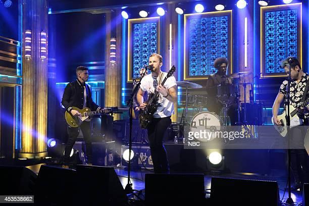 Matthew Followill Caleb Followill Jared Followill and Nathan Followill of musical guest Kings of Leon perform with Ahmir 'Questlove' Thompson on...