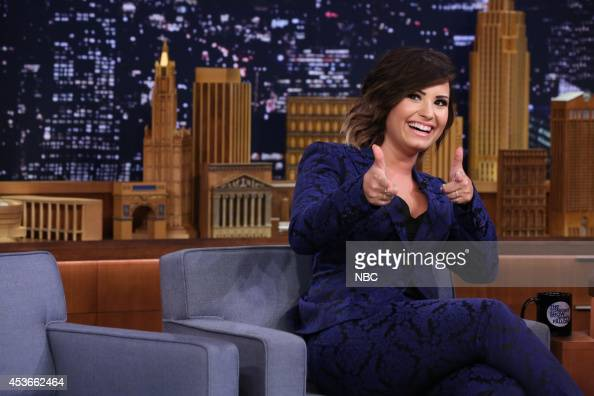 Singer Demi Lovato during an interview with host Jimmy Fallon on August 15 2014