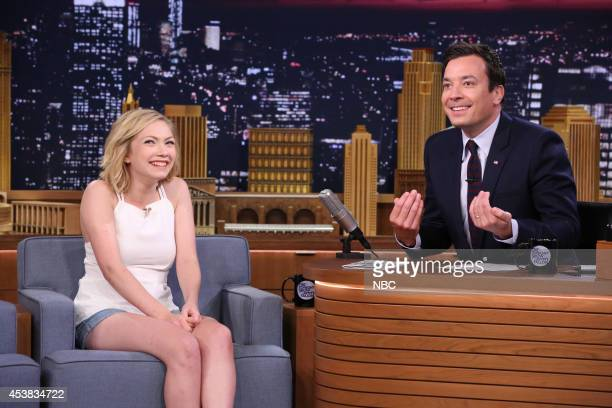 Writer Tavi Gevinson during an interview with host Jimmy Fallon on August 19 2014