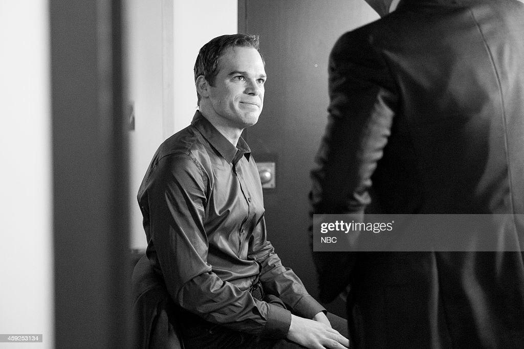 MEYERS Episode 0120 Pictured Actor Michael C Hall talks with host Seth Meyers backstage on November 3 2014