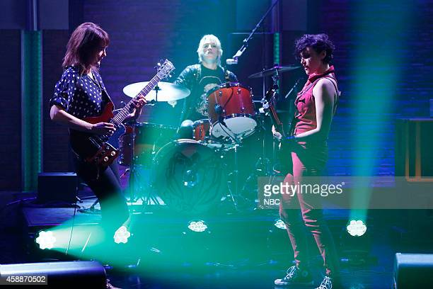 Mary Timony Laura Harris and Betsy Wright of Ex Hex perform on November 12 2014