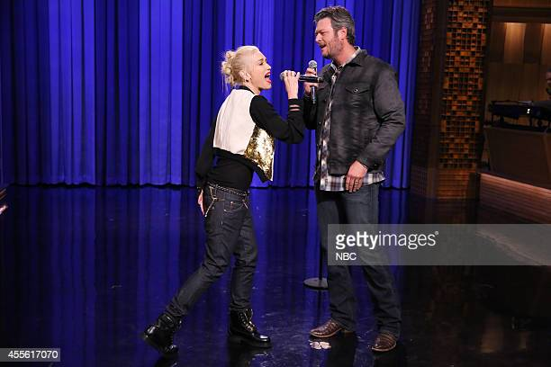 Singer Gwen Stefani and singer Blake Shelton during a lip synch battle on September 17 2014