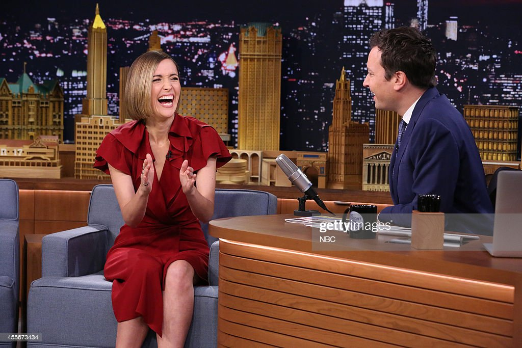 Actress <a gi-track='captionPersonalityLinkClicked' href=/galleries/search?phrase=Rose+Byrne&family=editorial&specificpeople=206670 ng-click='$event.stopPropagation()'>Rose Byrne</a> during an interview with host Jimmy Fallon on September 18, 2014 --