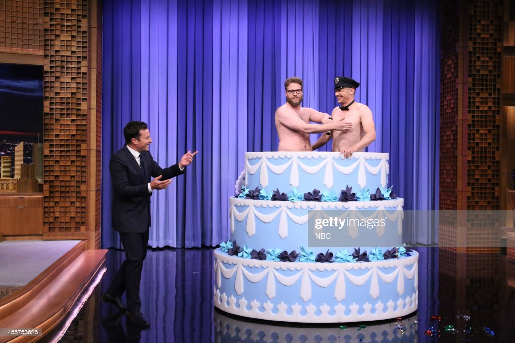 Host <a gi-track='captionPersonalityLinkClicked' href=/galleries/search?phrase=Jimmy+Fallon&family=editorial&specificpeople=171520 ng-click='$event.stopPropagation()'>Jimmy Fallon</a> is surprised by actor <a gi-track='captionPersonalityLinkClicked' href=/galleries/search?phrase=Seth+Rogen&family=editorial&specificpeople=3733304 ng-click='$event.stopPropagation()'>Seth Rogen</a> and actor <a gi-track='captionPersonalityLinkClicked' href=/galleries/search?phrase=James+Franco&family=editorial&specificpeople=577480 ng-click='$event.stopPropagation()'>James Franco</a> on September 19, 2014 --