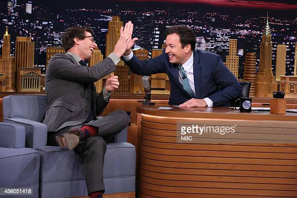 Actor Andy Samberg and host Jimmy Fallon during the '5 Second Movie Summaries' skit on September 24 2014