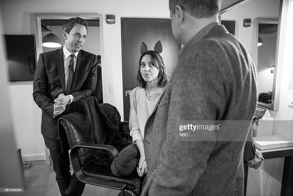 MEYERS Episode 0133 Pictured Host Seth Meyers and Aubrey Plaza backstage on November 20 2014
