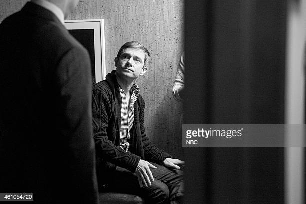 MEYERS Episode 0136 Pictured Actor Martin Freeman backstage on December 8 2014