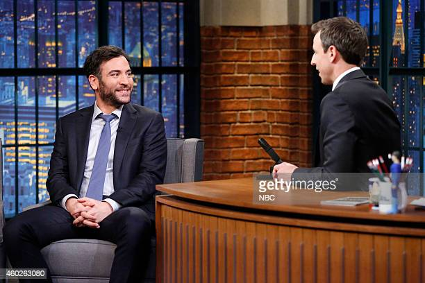 Actor Josh Radnor during an interview with host Seth Meyers on December 10 2014