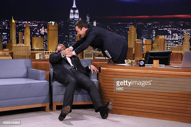 Actor Steve Carell during an interview with host Jimmy Fallon on October 9 2014