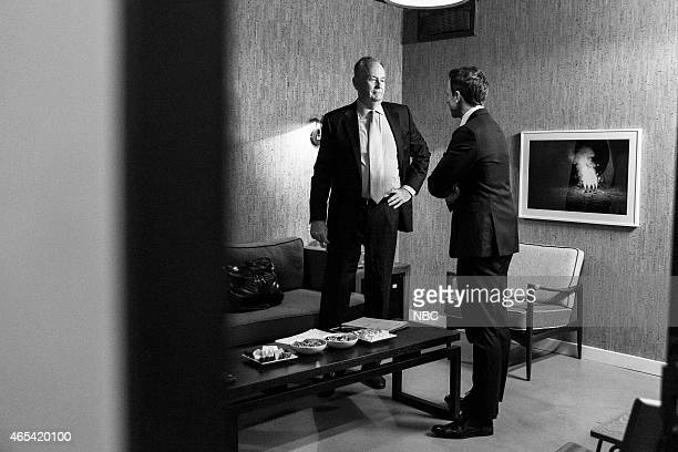 MEYERS Episode 0142 Pictured Talk show host Bill O'Reilly talks with host Seth Meyers backstage on December 17 2014