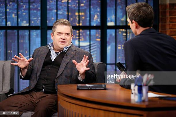 Comedian Patton Oswalt during an interview with host Seth Meyers on January 6 2015