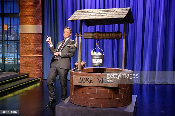 Host Seth Meyers during the 'Joke Bucket' skit on January 6 2015