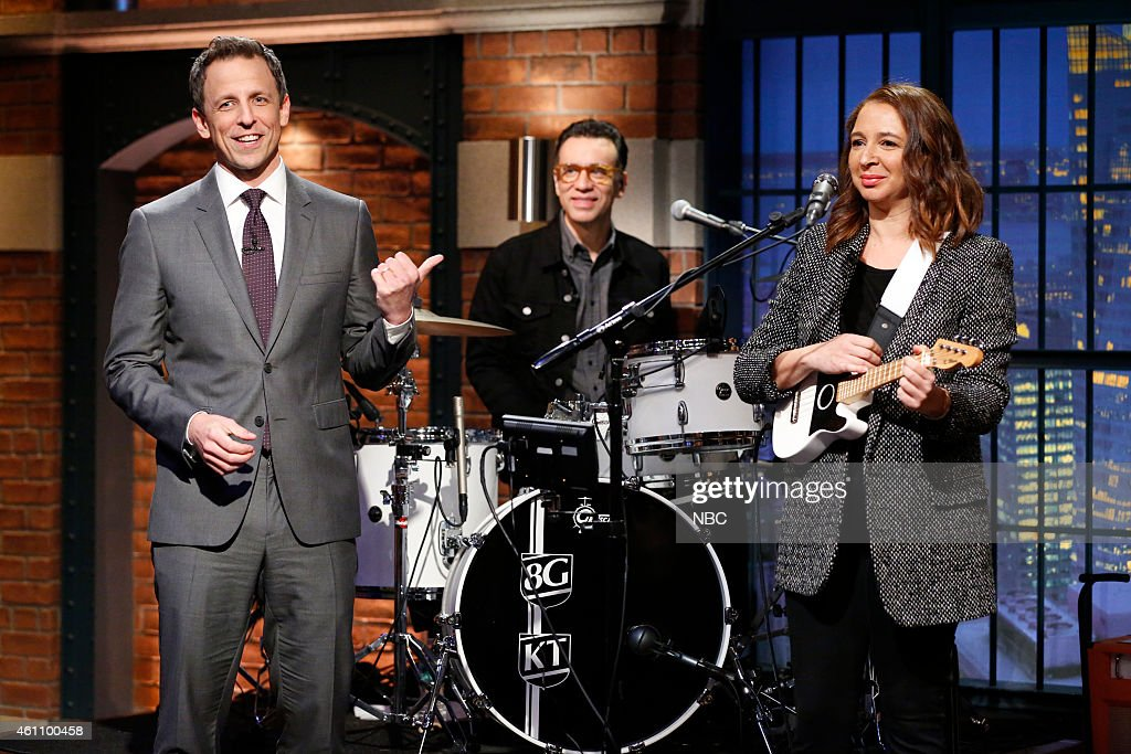 Host Seth Meyers with Fred Armisen and special guest Maya Rudolph on January 6 2015