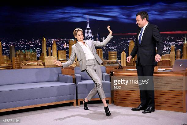 Actress Shailene Woodley shows host Jimmy Fallon her dance moves on October 15 2014